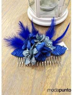 Peineta Flores azul