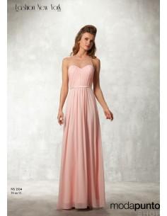 Vestido Cuerpo Plisado Tul Fashion New York